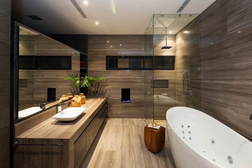 Light Brown Contemporary Bathroom Design