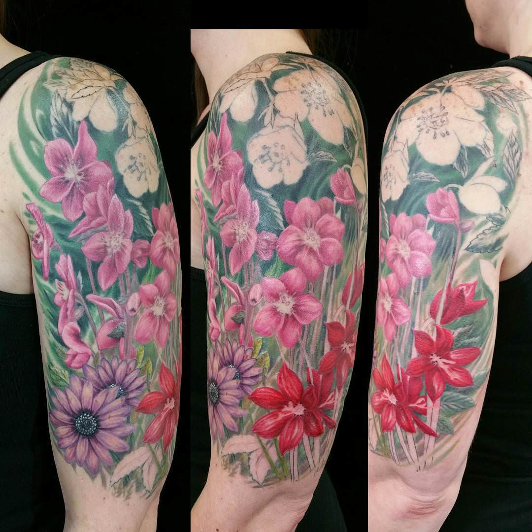 flower half sleeve tattoo design