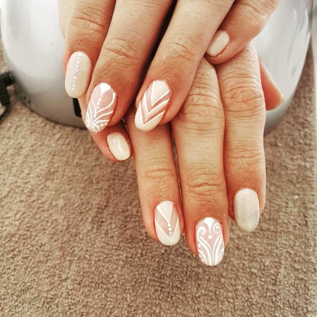 White Color Oval Nail Design