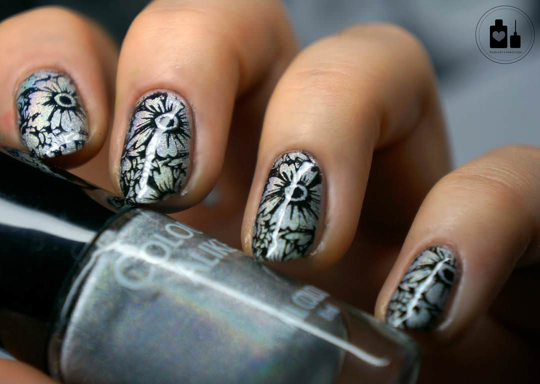 black and silver nail design
