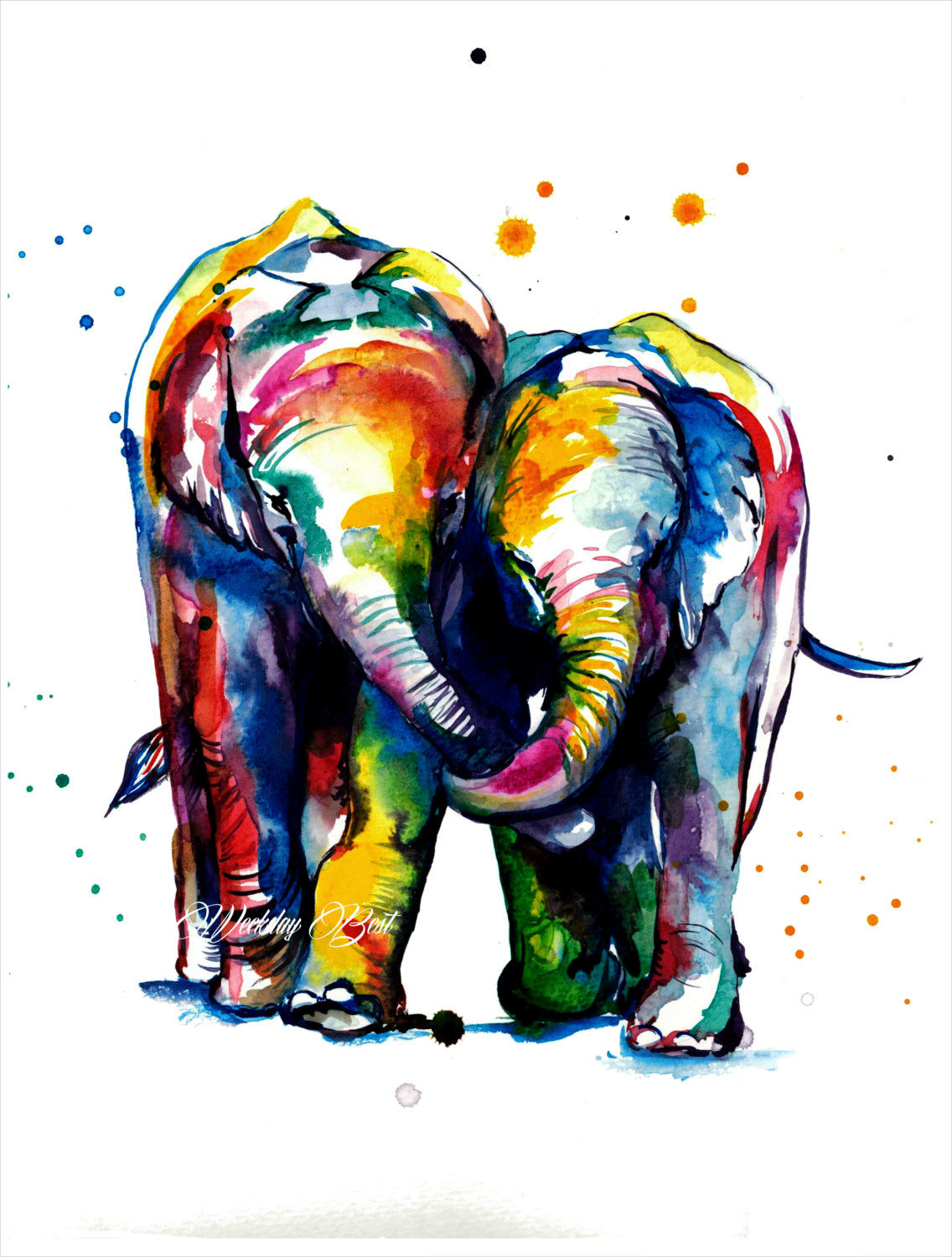 elephant colorful print watercolor painting1
