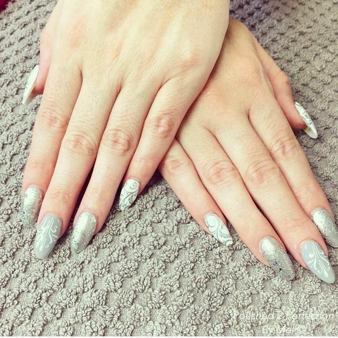 white oval nail design