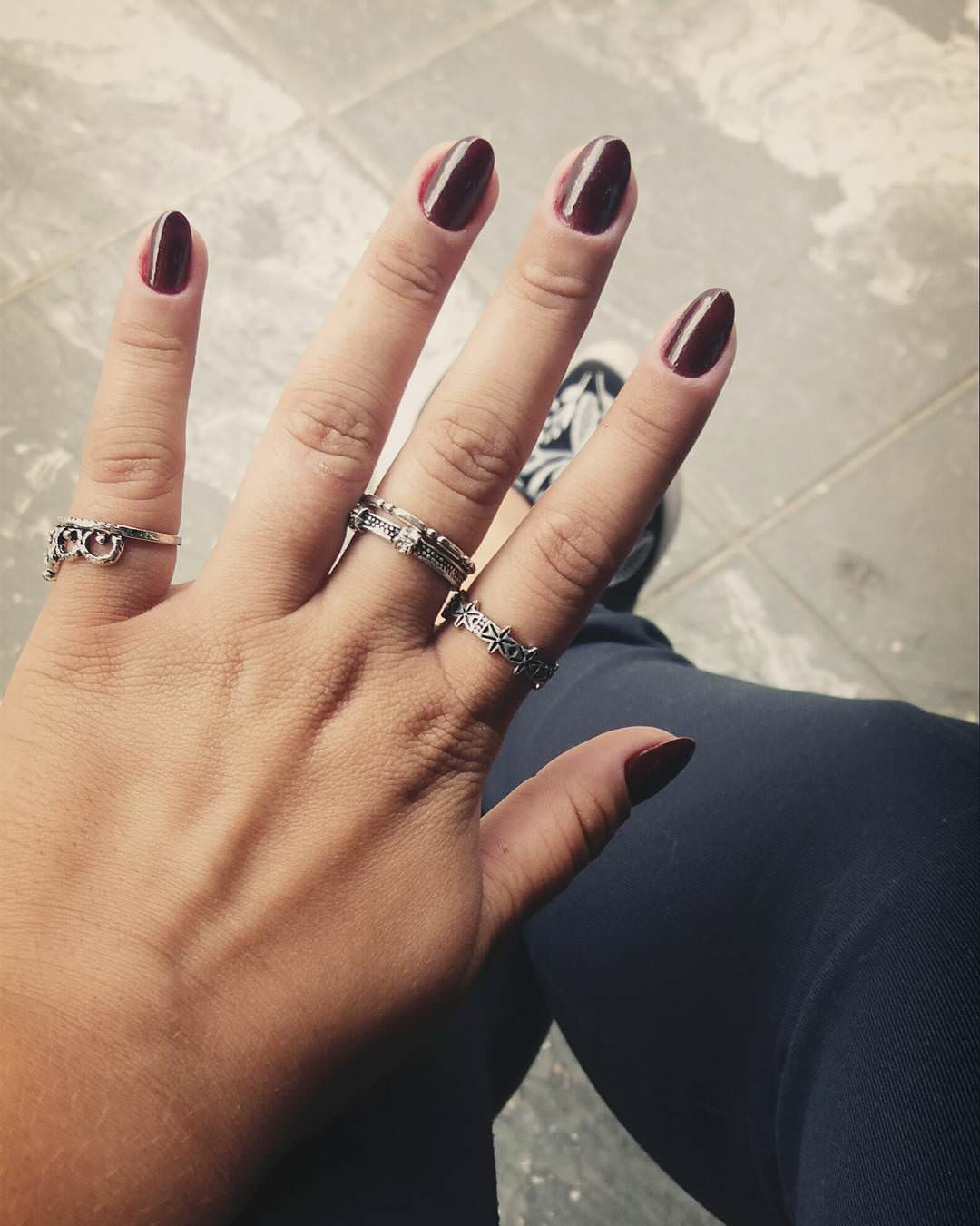 Dark & Simple Oval Nail Design