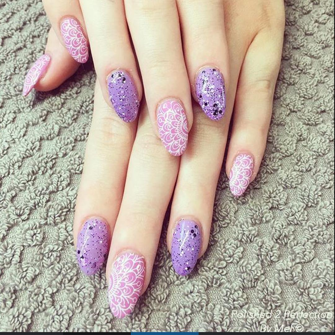 Purple Oval Nail Design