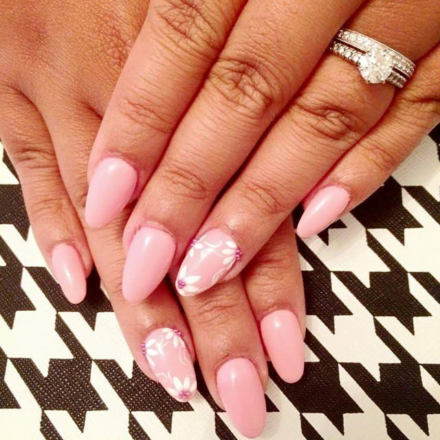 light pink oval nail designs