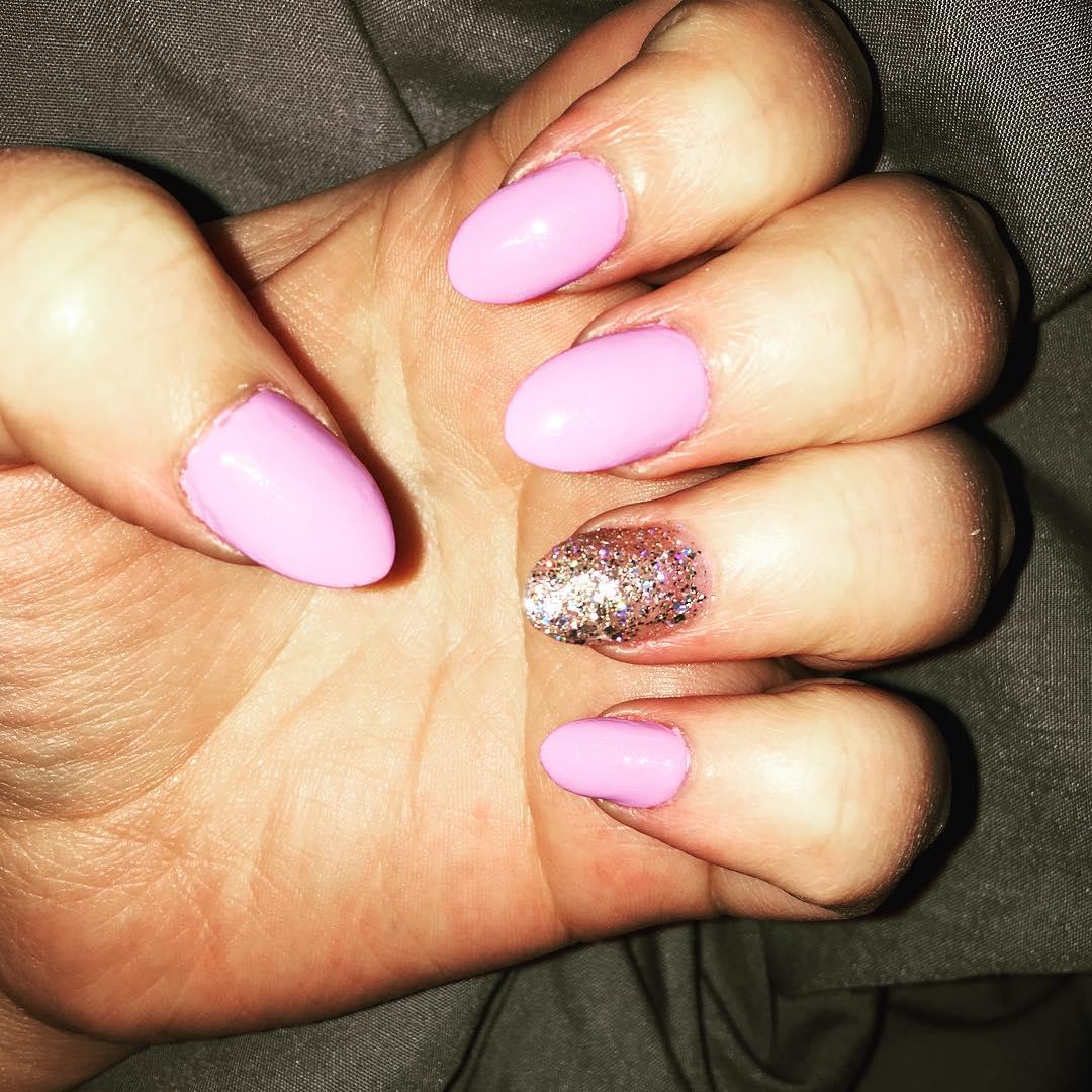 pink shining oval nail design