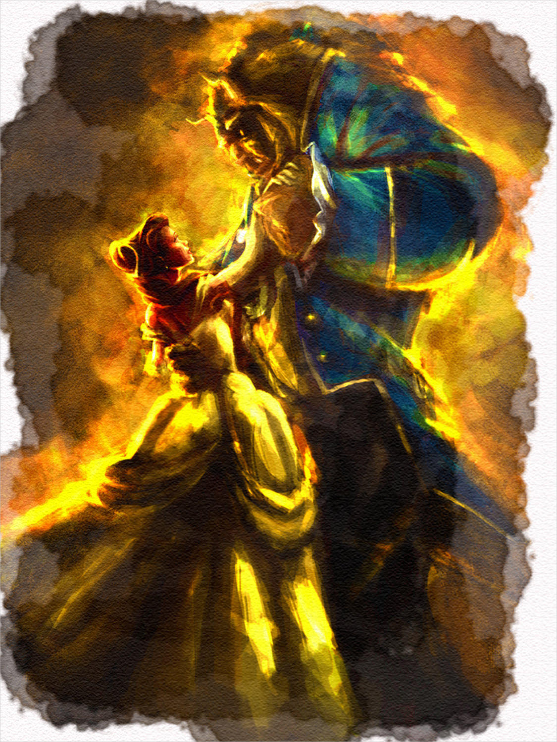 beauty and the beast watercolor painting