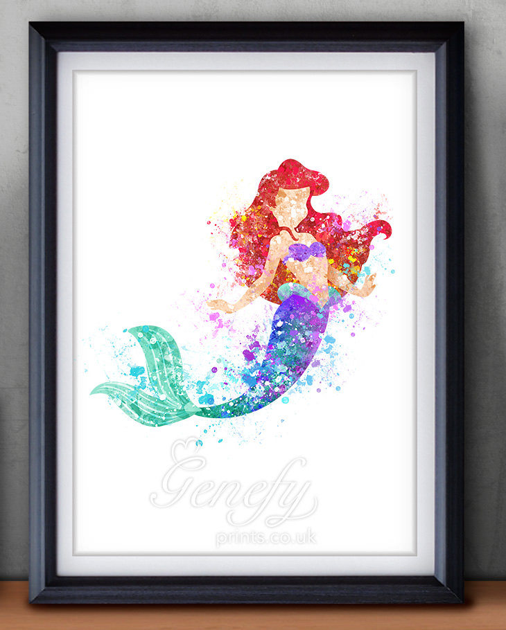 little mermaid watercolor painting