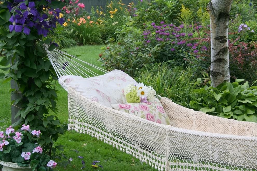 Backyard Hammock with Flower Garden
