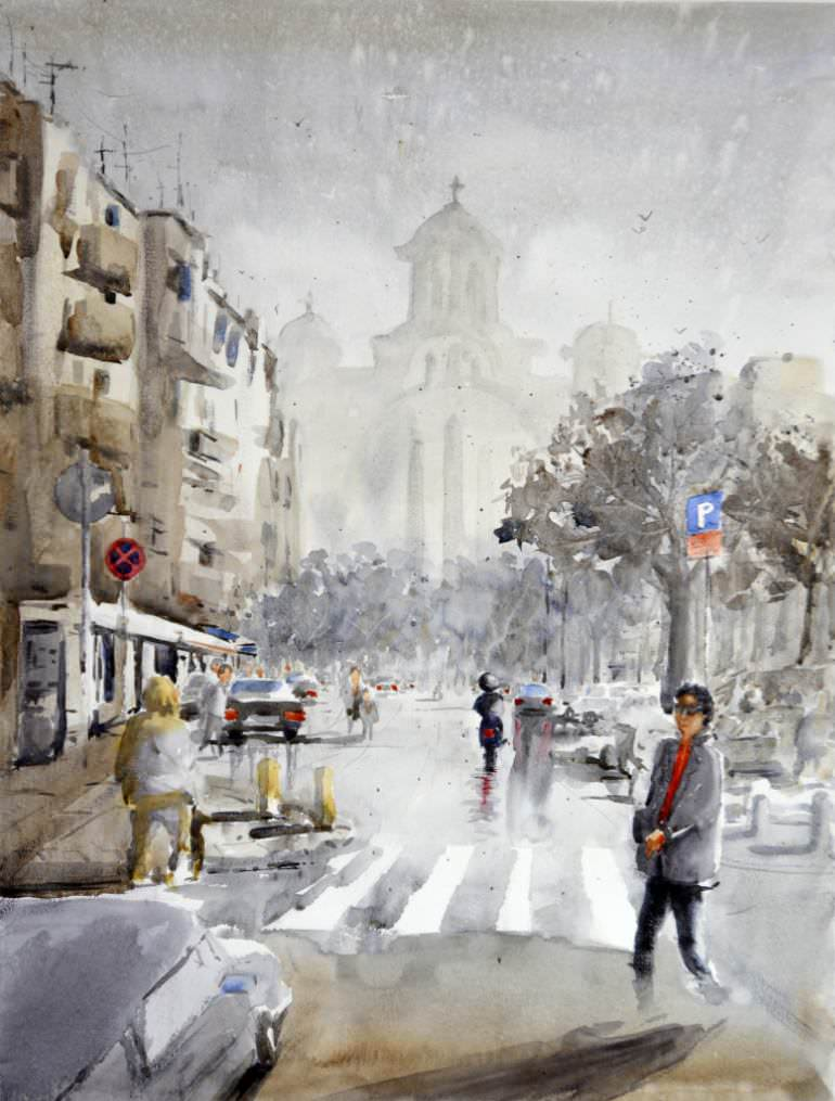 awesome street watercolor painting
