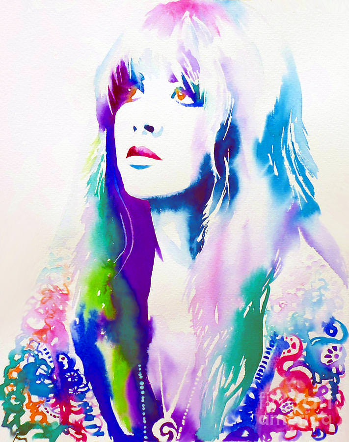 stevie nicks face watercolor painting