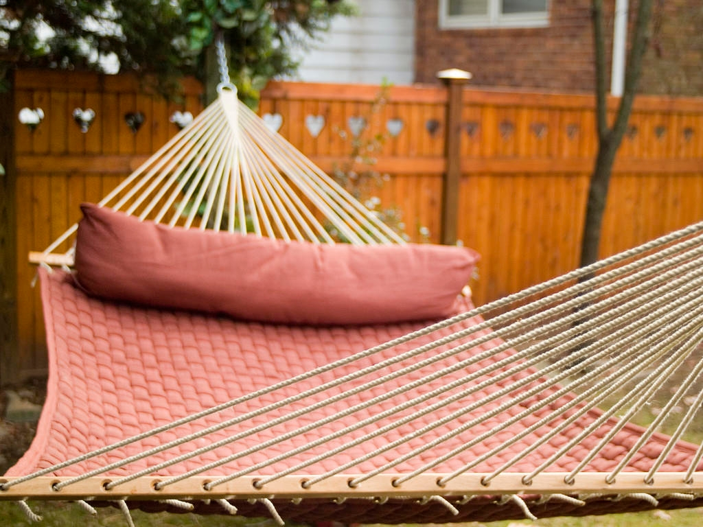 Getting Ready To Relax In A Backyard Hammock