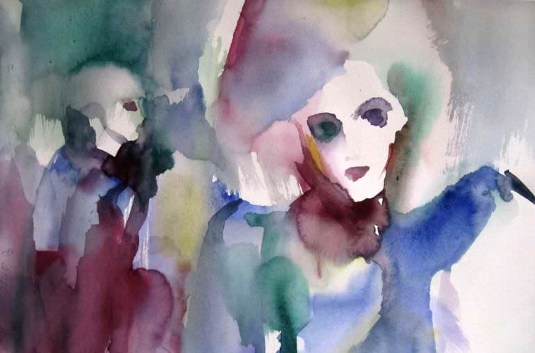 portrait women watercolor painting