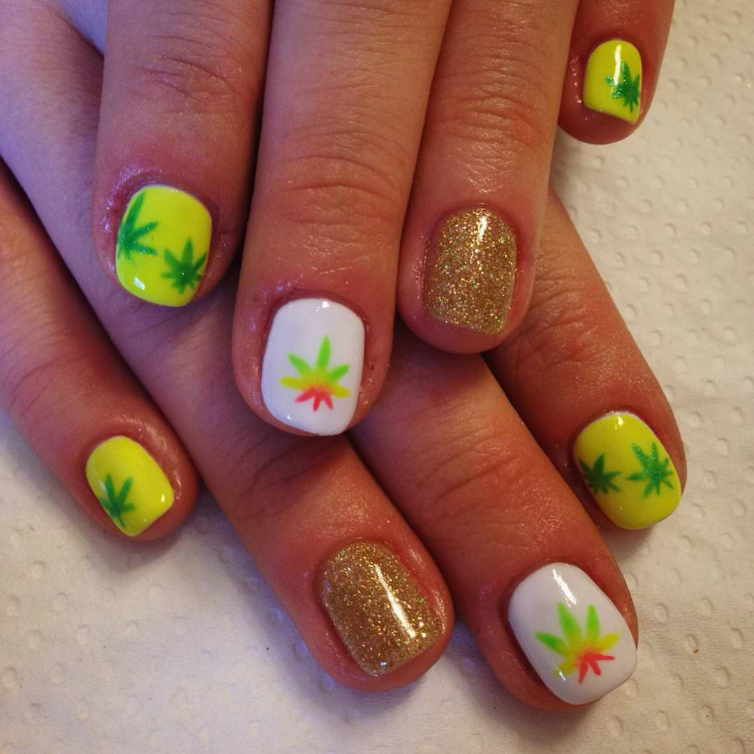 Yellow Weed Nail Design