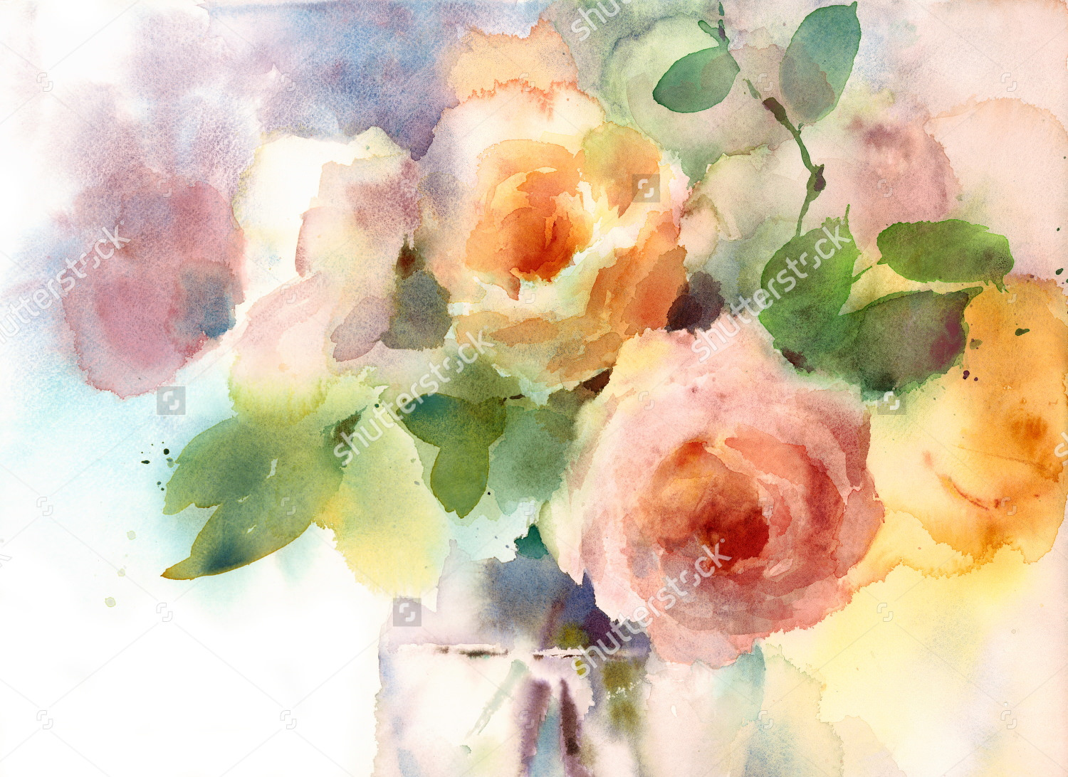 rose flowers watercolor painting