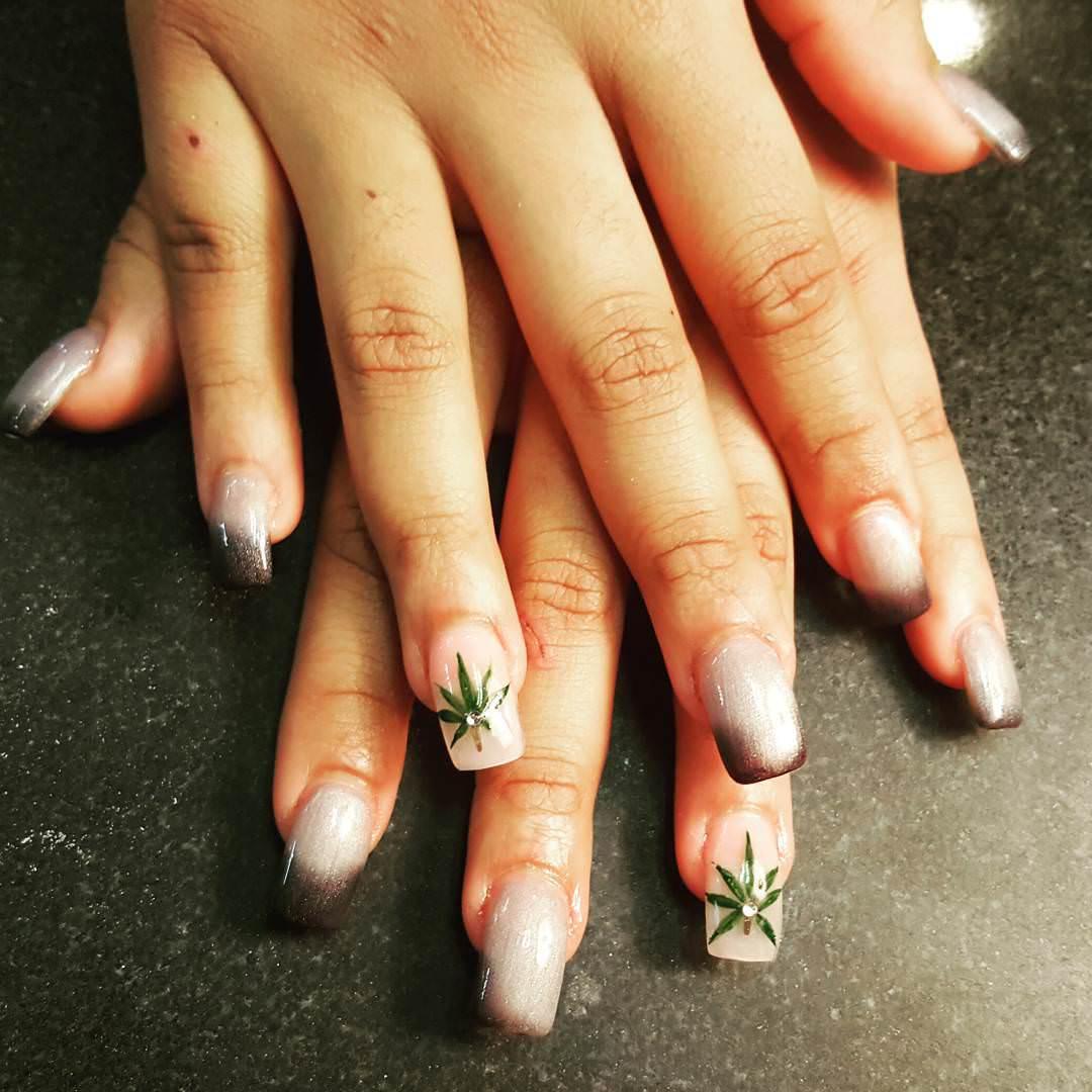 Beautiful Green Weed Nail Design