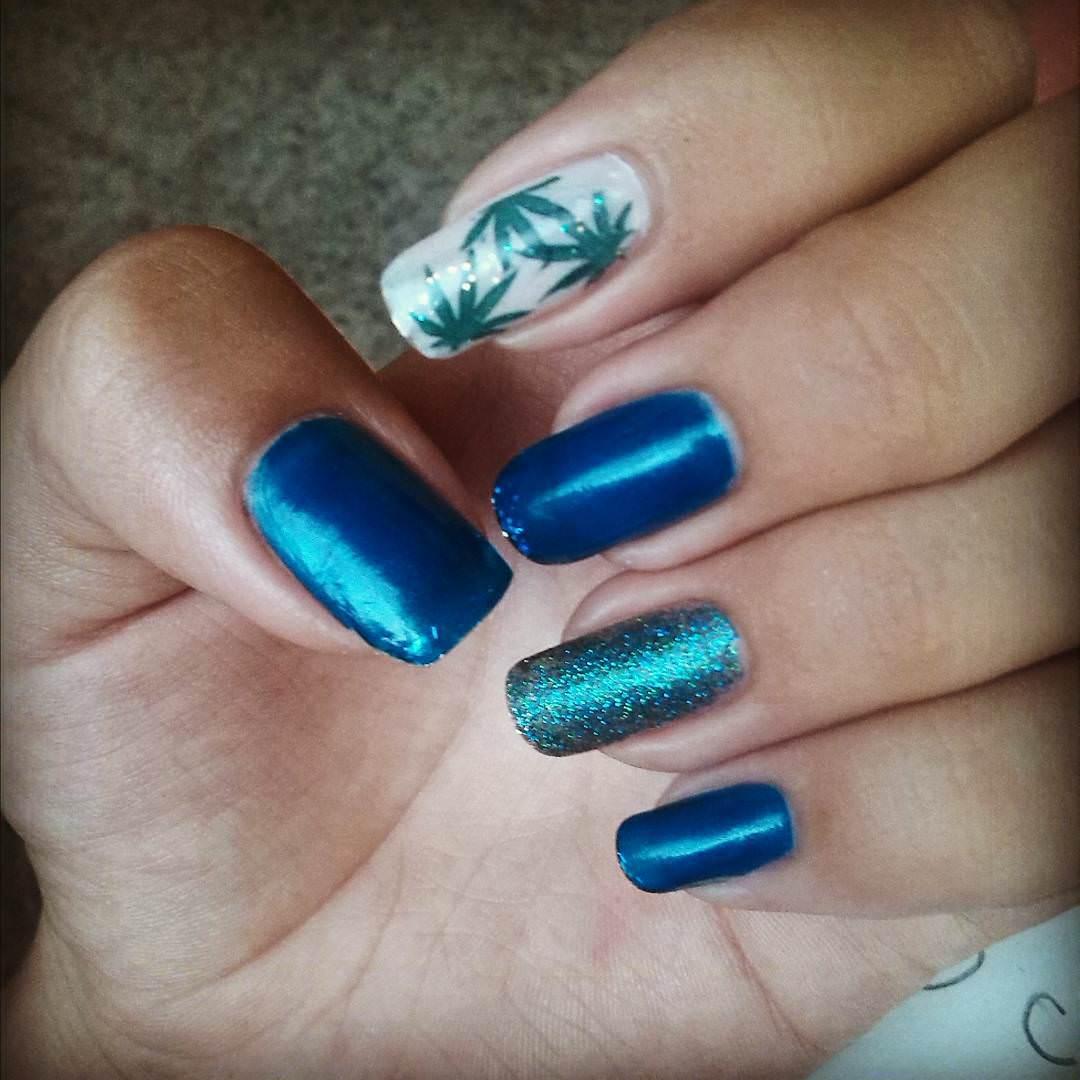 blue weed nail design