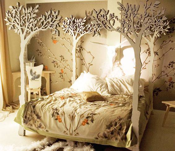 eclectic tree bedroom design