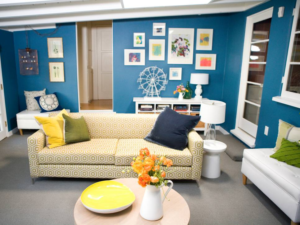 Blue Living Room With Retro Sofa