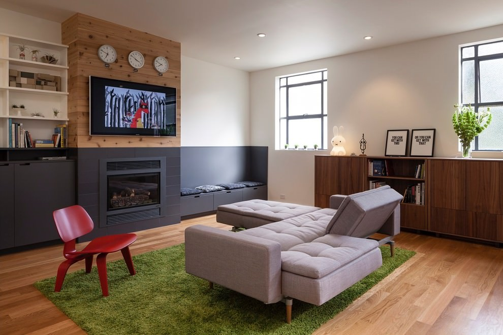 Contemporary living room with gray retro sofa