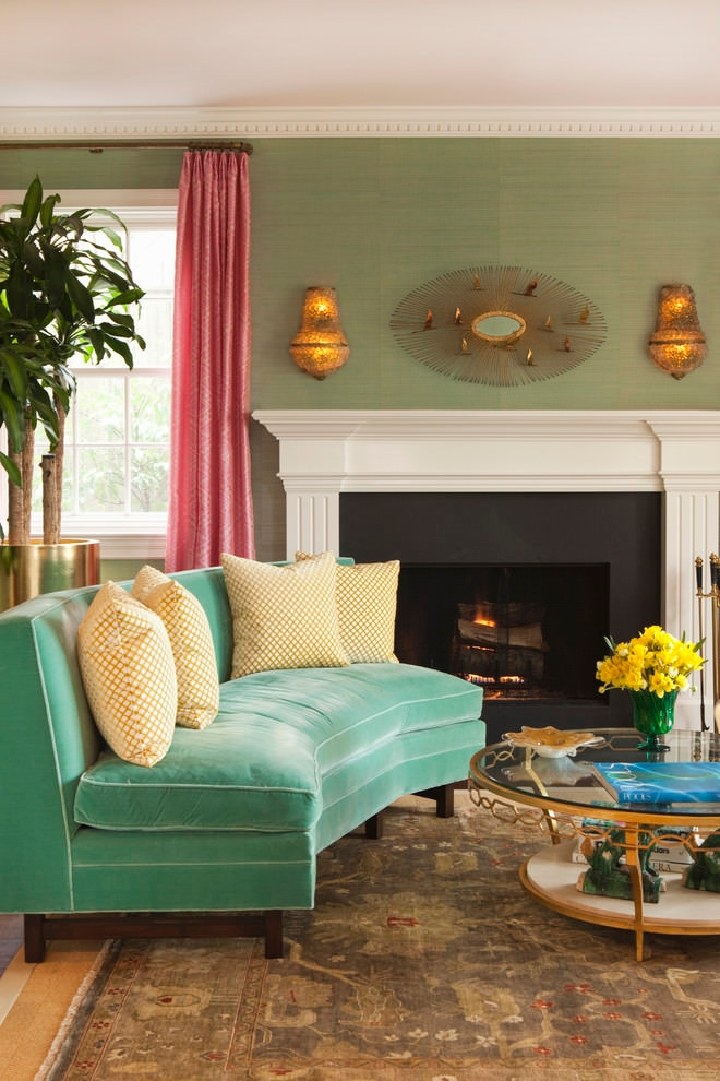 Transitional living room with green retro sofa