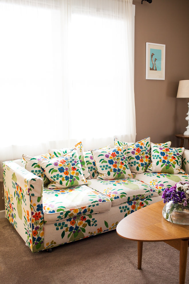 Colorful retro sofa design living room