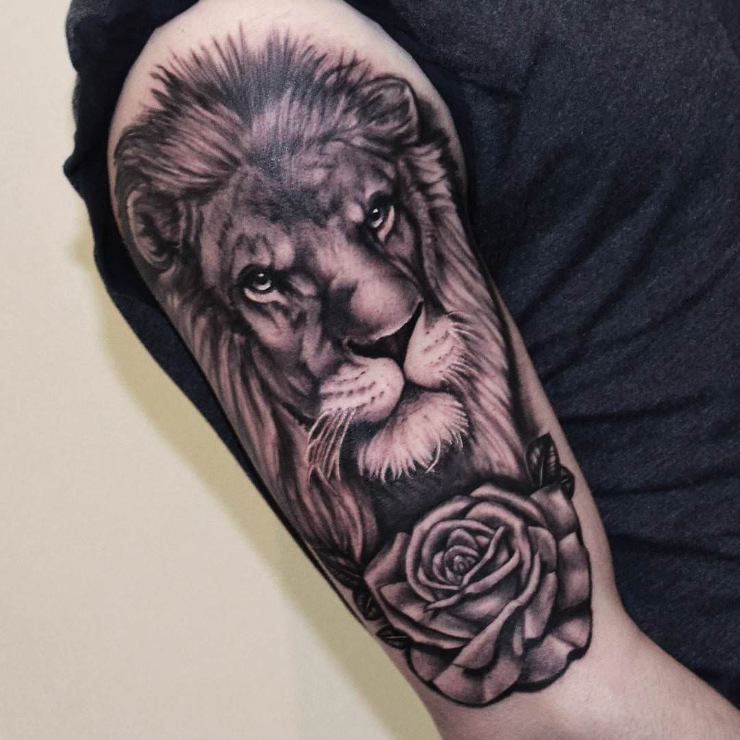 lion cool sleeve tattoo