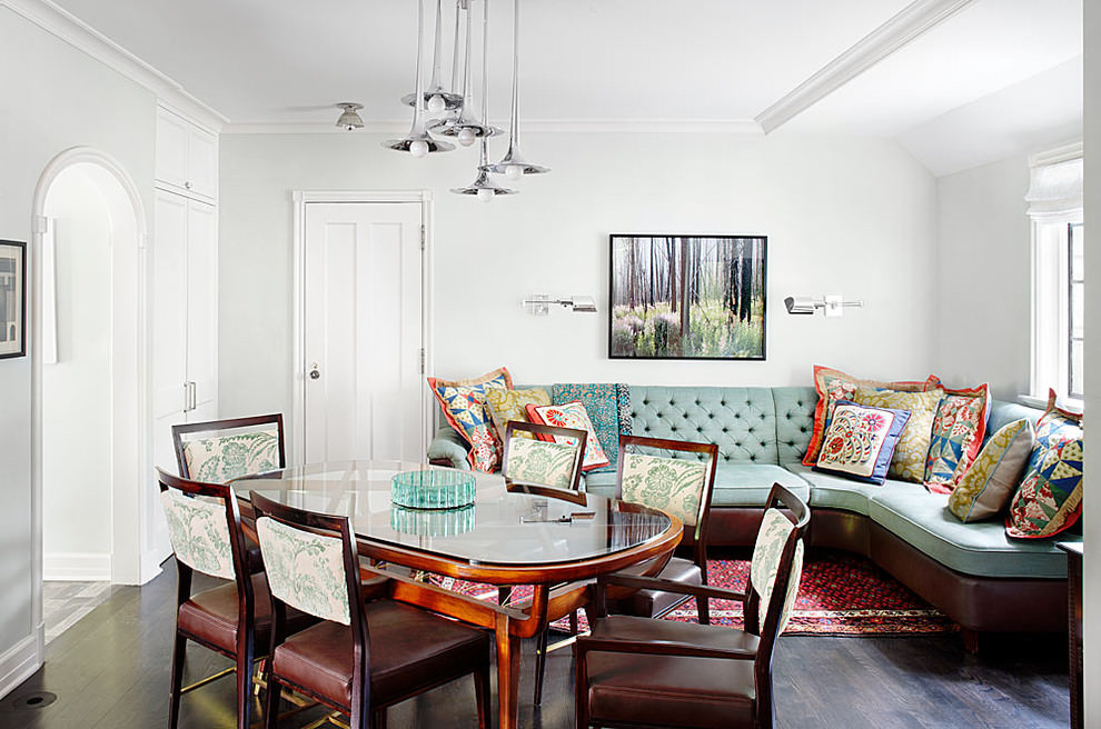 Retro sofa design in traditional dining room