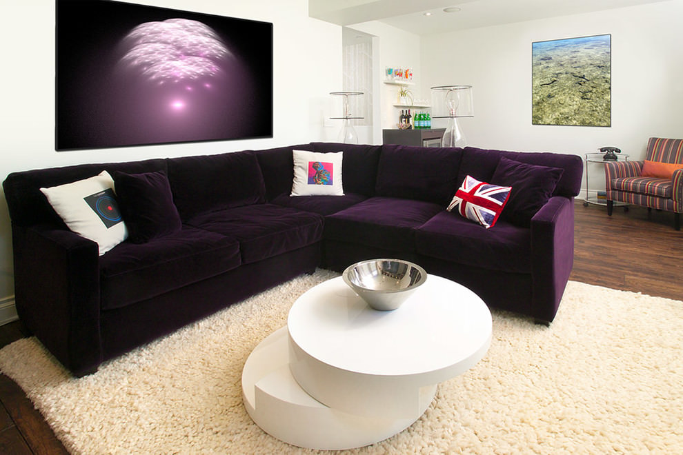 Modern home theater with beautiful retro sofa design