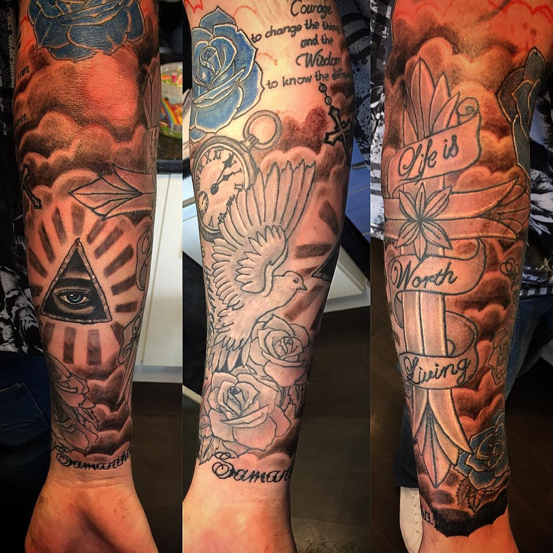 Marine corps full sleeve tattoos the best marine of 2018 for Usmc sleeve tattoo ideas