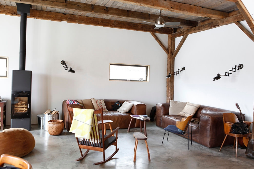 Rustic living room with retro sofa design