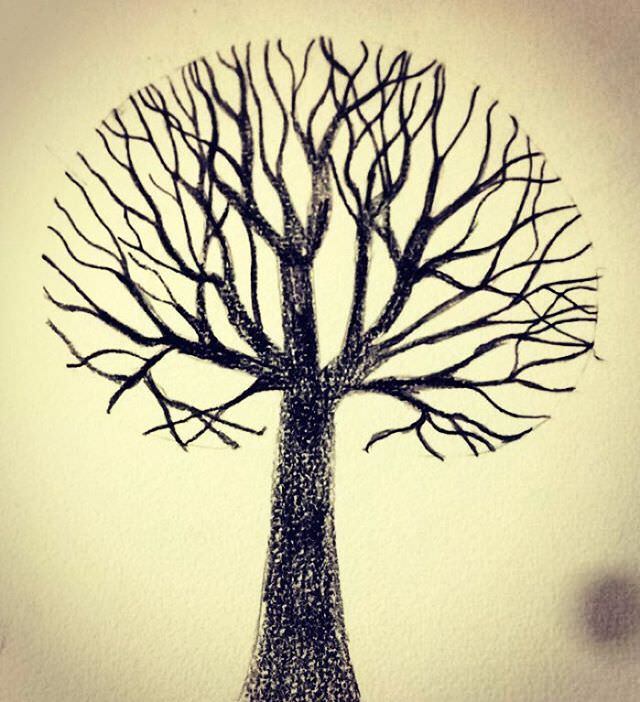 Brown Coloured Tree Drawing