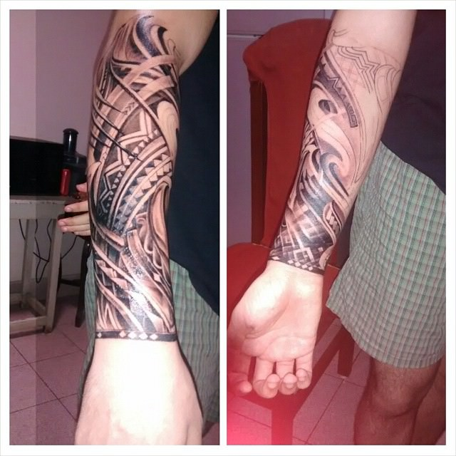 simple classy forearm sleeve tattoo