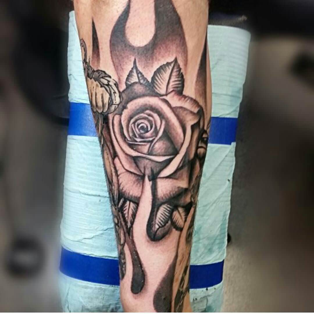 Single Rose Forearm Sleeve Tattoo