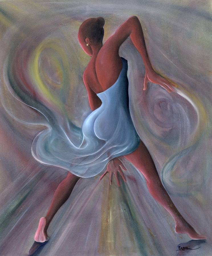 Blue Dress Beautiful Lady Dance Painting