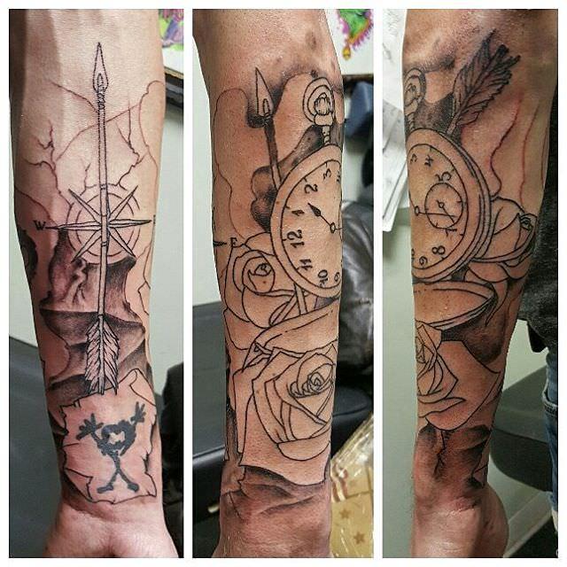 trendy simple forearm sleeve tattoo