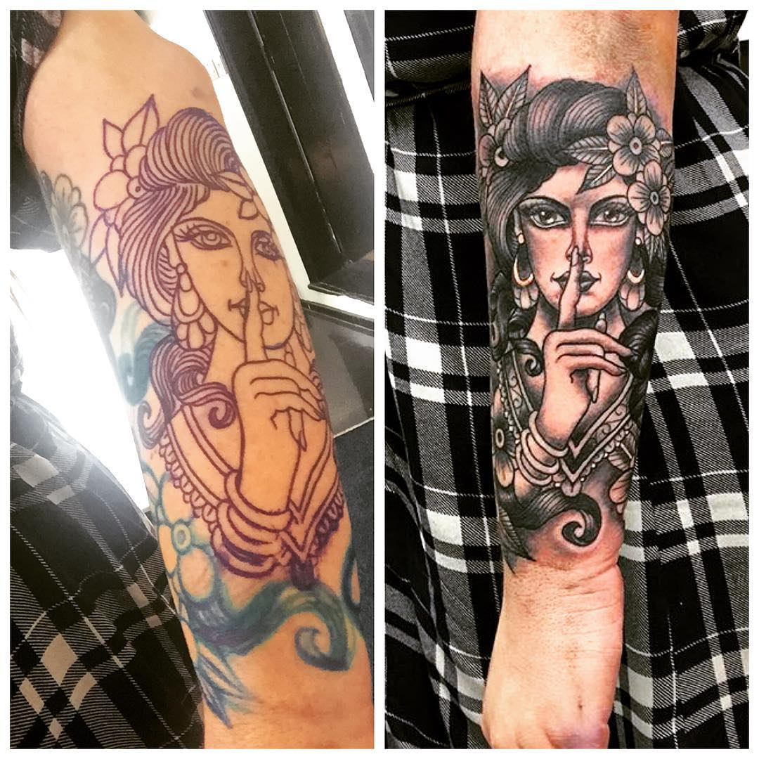 beautiful women forearm sleeve tattoo