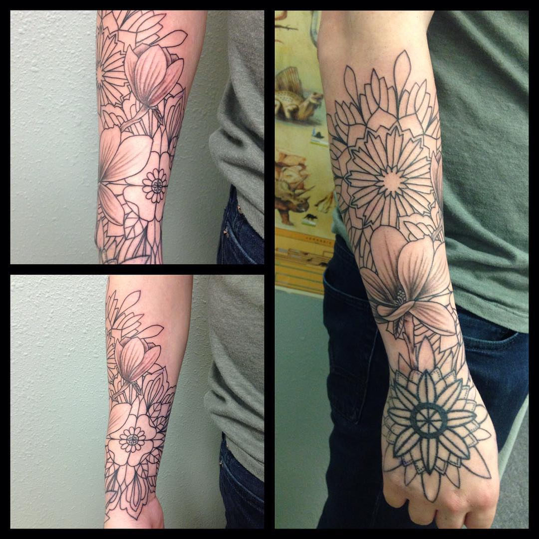 Nice Flower Forearm Sleeve Tattoo