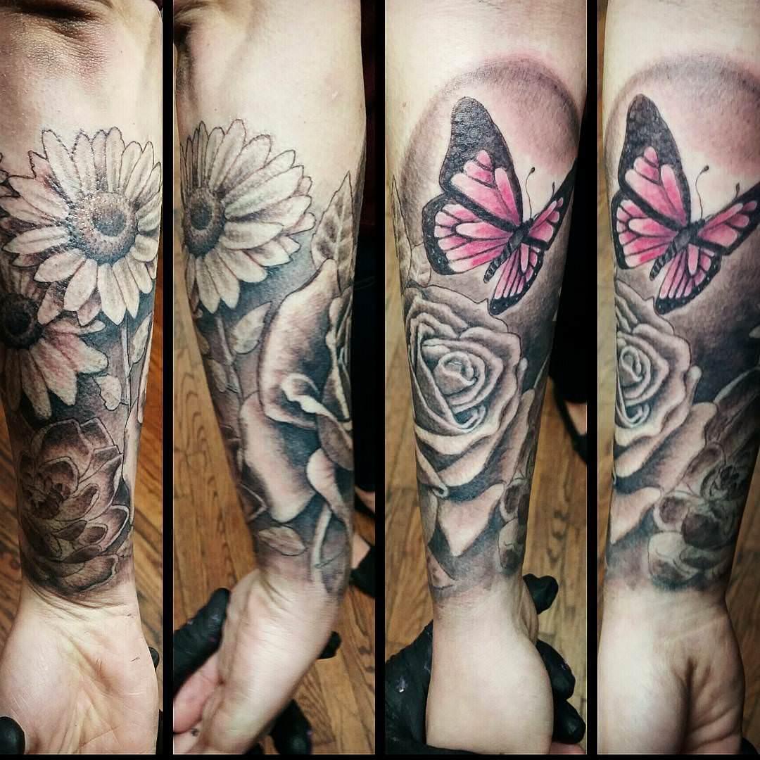 butterfly forearm sleeve tattoo