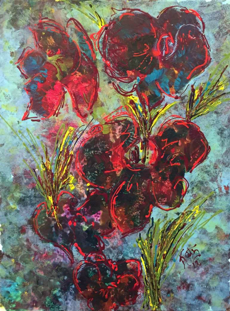 Abstract Floral Print Painting
