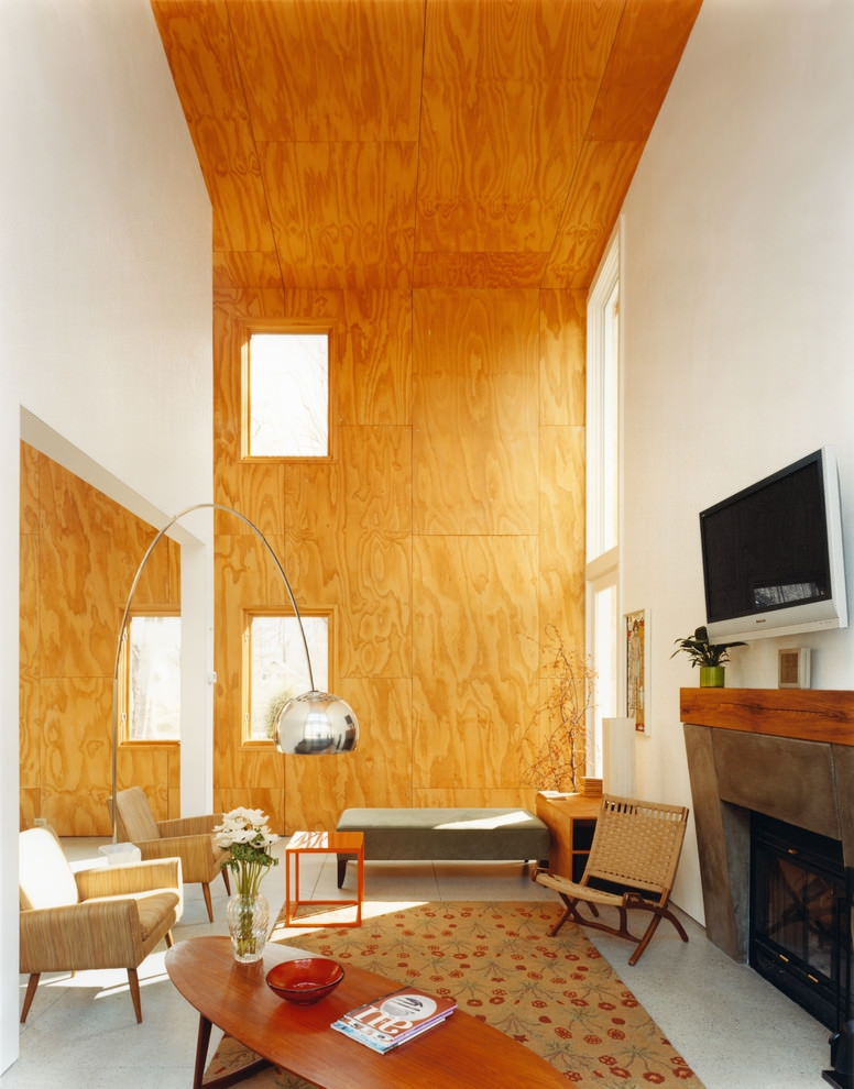Plywood sheet on wall and celling modern living room