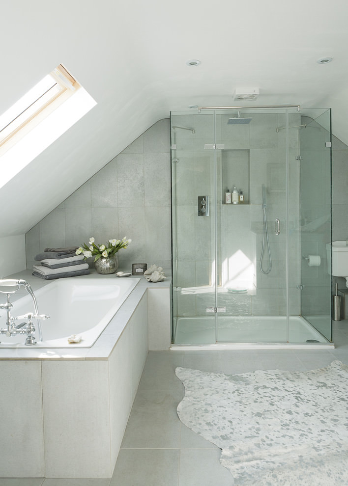 Glassy Attic Bathroom Design