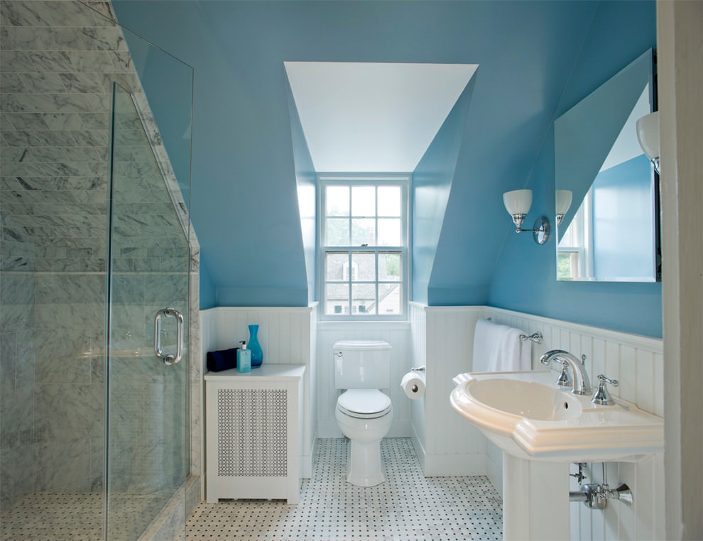 Blue Attic Bathroom Design
