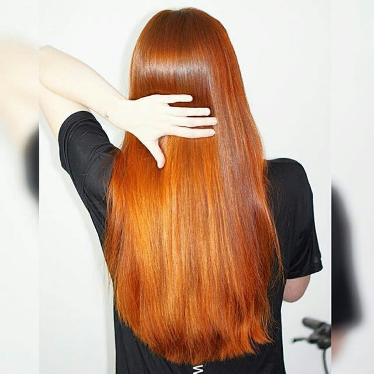 Red Colored Straight Hair