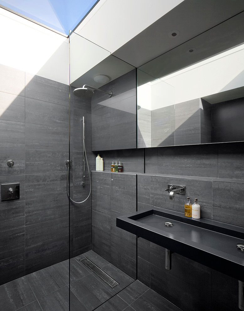 Grey Attic Bathroom Design