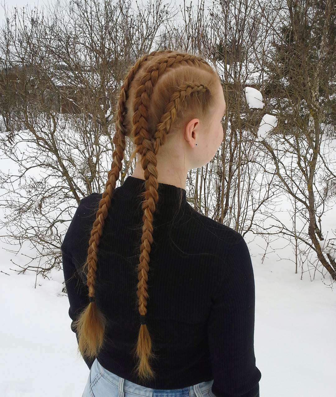cool two braided hairstyle