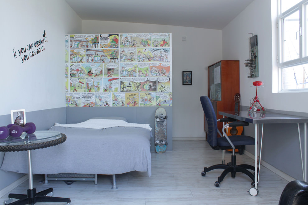 Eclectic kids room with work space design