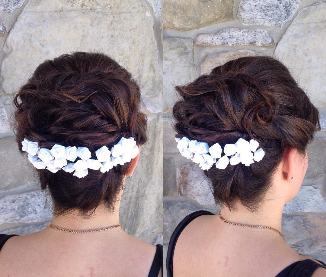 long decorated bride hairstyle