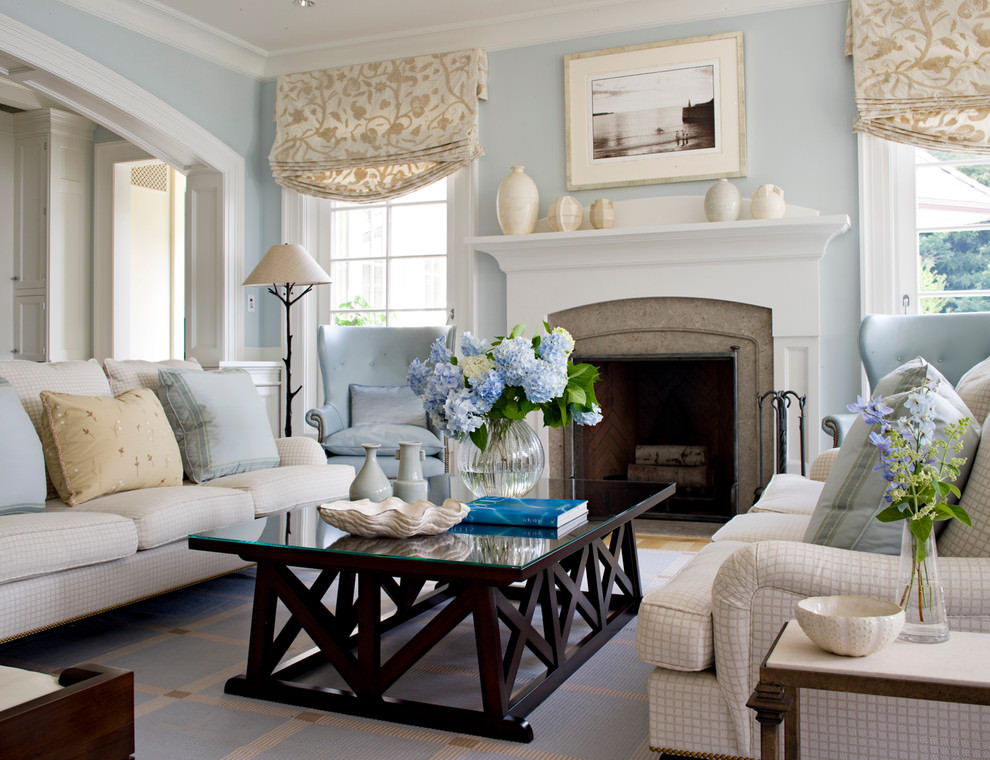 brown and blue color decorated living room