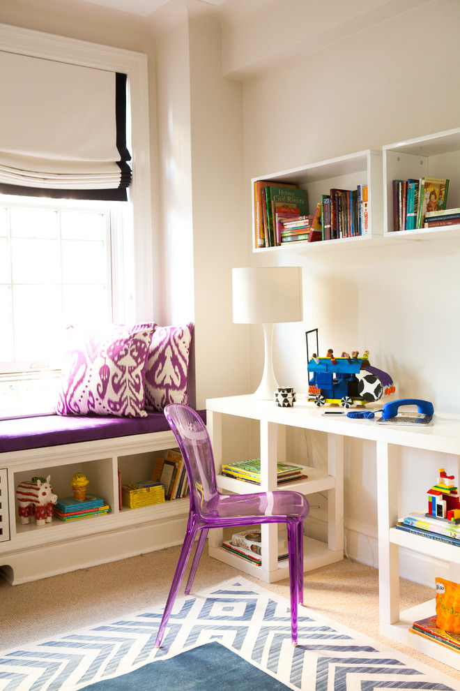 Purple color work space kids room